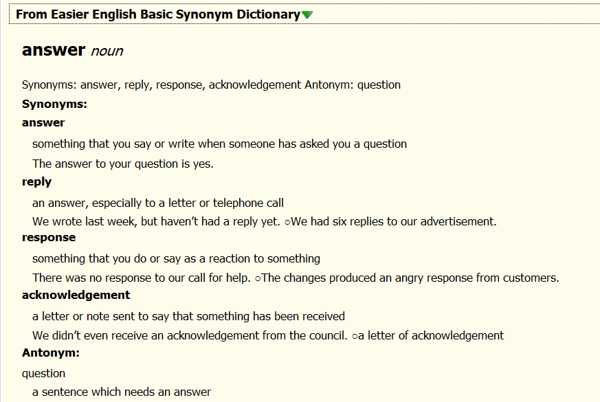 Easier English Basic Synonym Dictionary