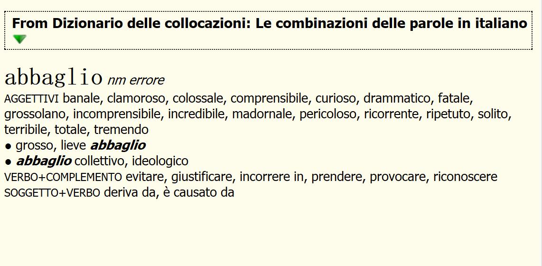 Le combinazioni delle parole in italiano/ 意大利语搭配词典